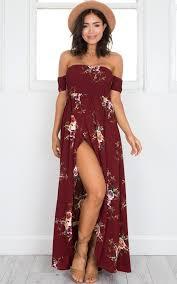 online shop boho style long dress women off shoulder beach summer