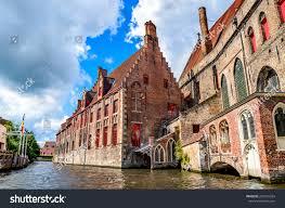 gothic style homes bruges brugge belgium summer scenery gothic stock photo 281953334