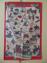 Kitchen Table Runners by Vintage 1940 U0027s California State Souvenir Kitchen Tea Dish Towel