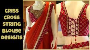 back criss cross string blouse designs