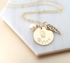Gold Engraved Necklace Fingerprint Custom Name Disc Memorial Angel Wing Necklace 14k