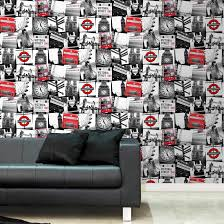 argos wallpaper home childrens wallpaper borders wall murals fresco london montage wallpaper black and red