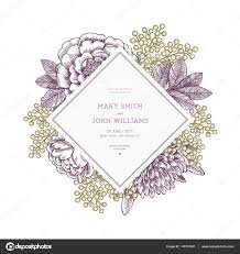 floral wedding invitation template vintage flower greeting card