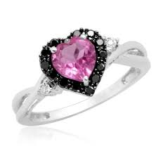 black and pink engagement rings white gold 10k heart shaped pink sapphire with black white diamond