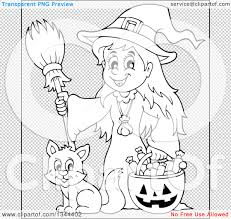 halloween background png black white lineart clipart of a cartoon black and white happy witch with