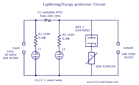 lightning surge protector circuit using gas discharge tube gdt