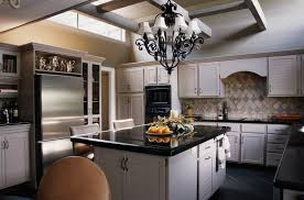 traditional interior design with antique chandelier and black