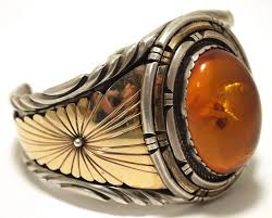 gold silver cuff bracelet images Navajo amber cuff bracelet 24k gold sterling silver tribal jpg