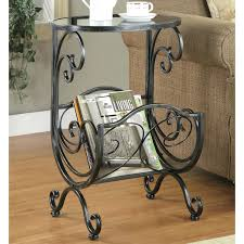 Wicker Accent Table Magazine Rack End Table Coaster Accent Tables Metal Glass Side