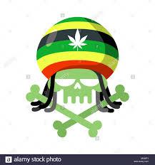 rasta skull with dreadlocks and rasta cap green head skeleton