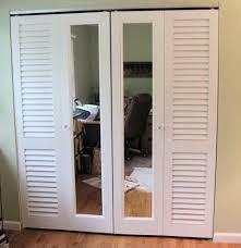 Trifold Closet Doors Wood Framed Mirrored Bifold Closet Doors