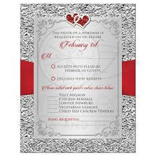wedding rsvp card black red silver floral joined hearts
