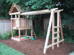 Backyard Play Structure by Basic Idea Climbing Area Above Swings Play Structures