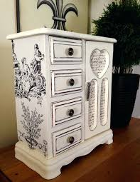 White Vintage Armoire Vintage Antique Jewelry Armoire Vintage Wood Jewelry Box Hand