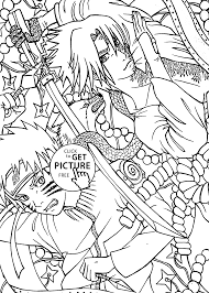 vs sasuke anime coloring pages for kids printable free