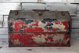 large red antique metal toolbox rustic home decor chippy paint