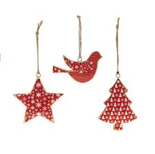 set of 3 hanging tin christmas decorations tutti decor ltd