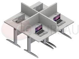bureau marguerite marguerite 4 postes identiques en largeur 80 cm plateaux