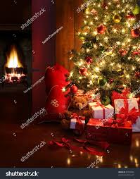christmas scene tree gifts fire background stock photo 87596032
