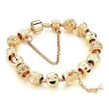 snake chain charm bracelet images Cute gold emoji face beads bracelets for women silver snake chain jpg