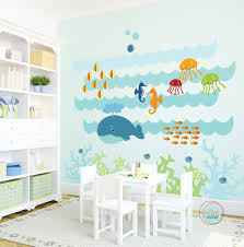Fish Nursery Decor Wall Decal The Sea Large Nursery Artwork