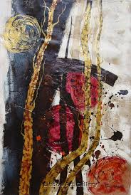 abstract modern gold red black oil painting abstract or modern