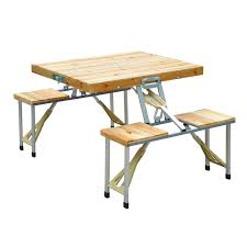 Folding Picnic Table With Benches Outsunny Portable Folding Picnic Table Camp Suitcase