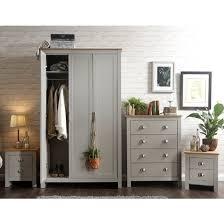 valencia wooden bedroom furniture set in grey with oak top