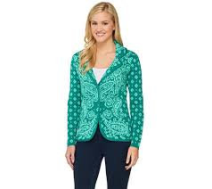 blazer sweater isaac mizrahi live engineered paisley sweater blazer page 1