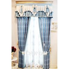 Blue Valance Curtains Toile Classic Clearance Living Room Blue Plaid Curtains Online No