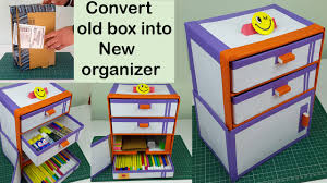 Decorative Cardboard Storage Boxes Home Organization How To Make A Diy Desk Organizer Drawer Organizer Out Of