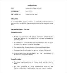 Receptionist Resume Template Free Medical Receptionist Job Description Medical Receptionist Resume