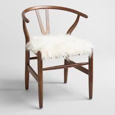 ivory chair ivory flokati donnan wishbone chair world market