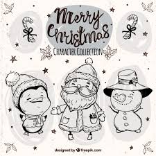 sketches of funny christmas characters with hats vector free