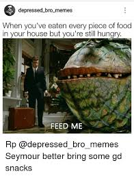 Feed Me Seymour Meme - depressed bro memes when eaten every piece of food your house but