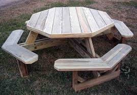 Octagon Patio Table Plans Octagon Picnic Table For Outdoor Area The New Way Home Decor
