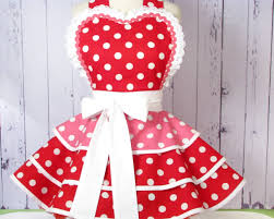 Womens Aprons Cherry Bubblegum Apron For Pinup Girls Red And Pink Made To