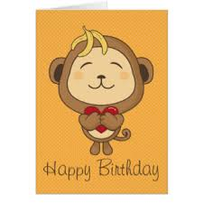 cute happy monkey birthday cards greeting u0026 photo cards zazzle