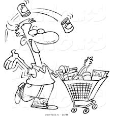 vector of a cartoon guy grocery shopping coloring page outline