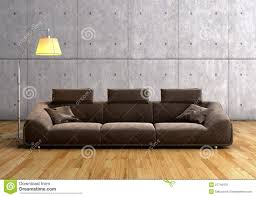 Modern Brown Sofa A Modern Brown Sofa And L Stock Photo Image Of Apartment