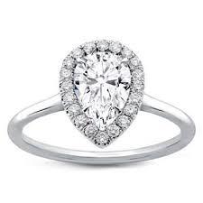 plain band engagement ring plain band pear halo engagement setting r3013