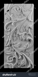 gypsum plaster ornaments on black background stock photo 499910848