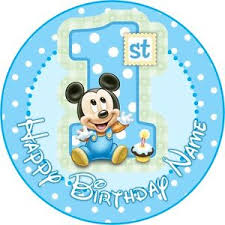 baby mickey 1st birthday edible baby mickey mouse cake topper 1st birthday wafer paper 7 5