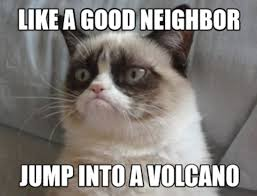 Grumpy Cat Meme Good - grumpy cat meme like a good neighbor jump into a volcano imgur