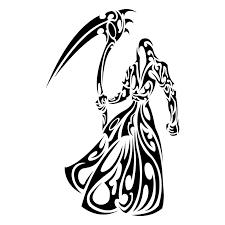 black tribal grim reaper tattoo stencil