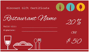 discount gift card restaurant gift certificate template for discount