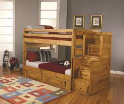 Kids Bedroom Furniture Storage Light Brown Oak Wooden Trundle Bunk Bed Built In Ladder On