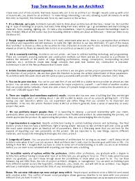 top ten reasons to be or not to be an architect architect lawyer