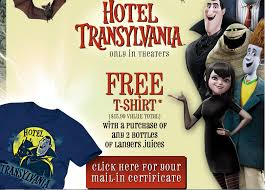free hotel transylvania shirt purchase 2 langers juice