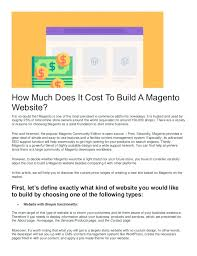 How Much Does It Cost How Much Does It Cost To Create A Magento Ecommerce Store